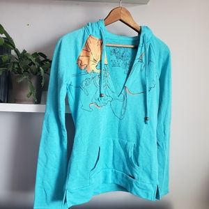 Roxy Terrycloth Hoody Aqua and Peach sz S